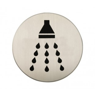 Adhesive Shower Sign in Satin Stainless Steel