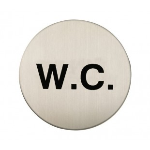 Adhesive W.C Sign in Satin Stainless Steel