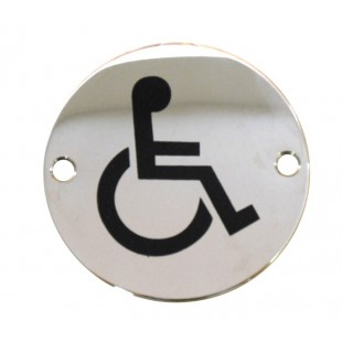 Disabled Toilet Door Sign in Polished Stainless Steel