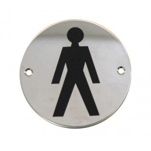 Male Toilet Door Sign in Polished Stainless Steel