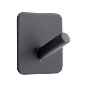 Matt Black Single Coat Hook with Adhesive Backplate