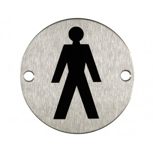 Male Toilet Sign for Toilet Doors in Satin Stainless Steel