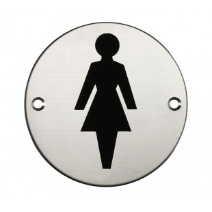 Female Toilet Door Sign in Polished Stainless Steel