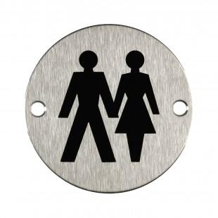 Unisex Toilet Sign for Toilet Door in Satin Stainless Steel