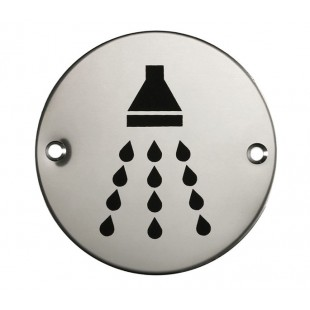 Shower Door Sign in Polished Stainless Steel
