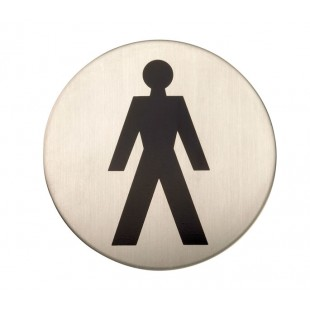 Adhesive Male Toilet Door Sign in Satin Stainless Steel