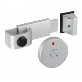 Satin Anodised Aluminium Cubicle Door Lock with Release Slide Bolt Keep and Buffer for Toilet Cubicles