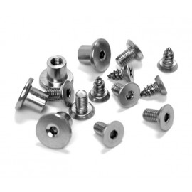 Cubicle Hinge Fittings Satin Stainless Steel Grade 316 Bolt Through Fixings and Wood Screws for 13mm Partitions