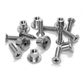 Cubicle Hinge Fittings Satin Stainless Steel Bolt Through Fixings and Wood Screws for 20mm Partitions