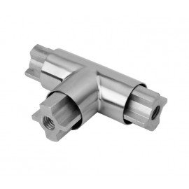 Tubular Headrail T Joint Connector in Satin Stainless Steel