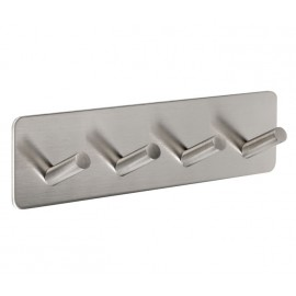 Stick On Coat Hook Rack for Cubicles with Satin Stainless Steel Finish