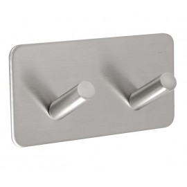 Stick On Cubicle Coat Hook with Double Hook and Satin Stainless Steel Finish