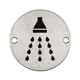 Shower Door Sign in Satin Stainless Steel