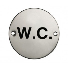 W.C Sign in Polished Stainless Steel