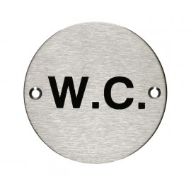 W.C Sign in Satin Stainless Steel