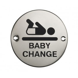 Baby Change Sign in Polished Stainless Steel