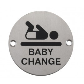 Baby Change Sign in Satin Stainless Steel