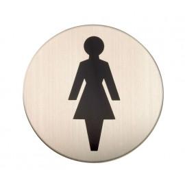 Adhesive Female Toilet Door Sign in Satin Stainless Steel