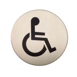 Adhesive Disabled Toilet Door Sign in Satin Stainless Steel