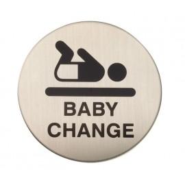 Adhesive Baby Change Door Sign in Satin Stainless Steel