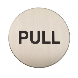 Adhesive Pull Door Sign in Satin Stainless Steel